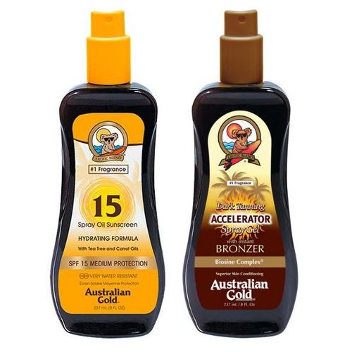 Australian Gold SPF 15 Spray Oil and Accelerator Spray Gel | Zestaw do opalania: olejek w sprayu do opalania 237ml + spray przyspieszający opalanie 237ml