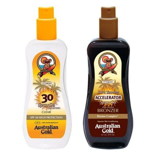 spf 30 spray gel and accelerator spray gel | zestaw do opalania: spray do opalania 237ml + spray przyspieszający opalanie 237ml marki Australian gold