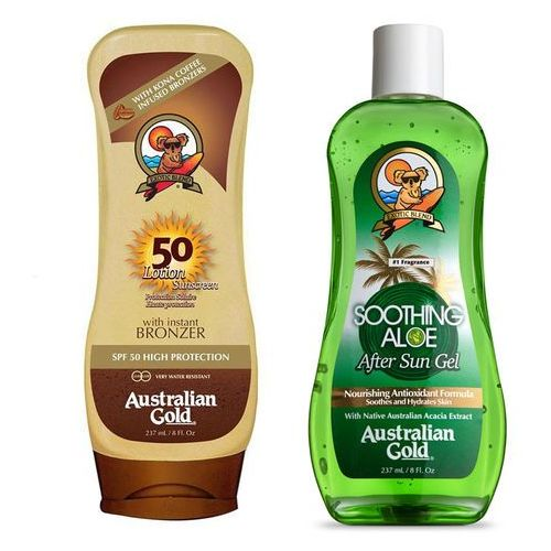 Australian gold spf 50 lotion bronzer 237ml + australian gold soothing aloe after sun 237ml