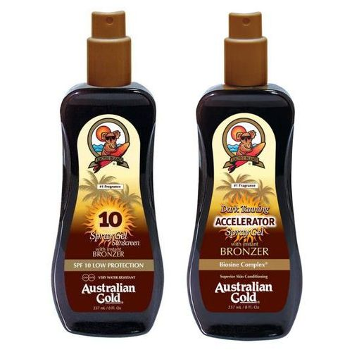 Australian gold spf 10 spray gel bronzer and accelerator spray gel | zestaw do opalania: spray do opalania z bronzerem 237ml + spray przyspieszający opalanie 237ml