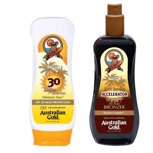 Australian gold spf 30 lotion and accelerator spray gel | zestaw do opalania: balsam do opalania 237ml + spray przyspieszający opalanie 237ml (2019070193736)