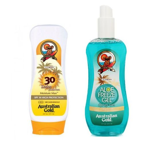 Australian Gold SPF 30 Lotion and Aloe Freeze Spray Gel | Zestaw do opalania: balsam do opalania 237ml + chłodzący spray po opalaniu 237ml