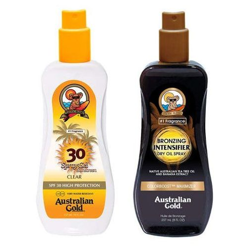 Australian Gold SPF 30 Spray Gel and Intensifier Bronzing Dry Oil Spray | Zestaw do opalania: spray do opalania 237ml + suchy olejek przyspieszający opalanie 237ml