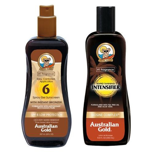 Australian gold spf 6 spray gel bronzer and rapid tanning intensifier lotion | zestaw do opalania: spray do opalania z bronzerem 237ml + mleczko przyspieszające opalanie 250ml