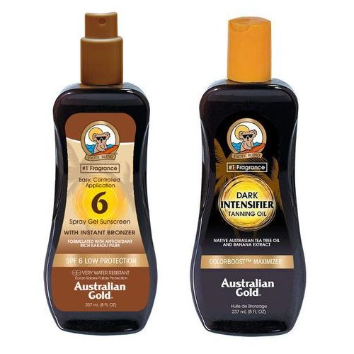 Australian Gold SPF 6 Spray Gel Bronzer and Intensifier Dark Tanning Oil | Zestaw do opalania: spray do opalania z bronzerem 237ml + olejek przyspieszający opalanie 237ml