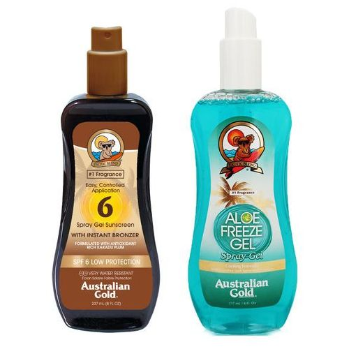 Australian gold spf 6 spray gel bronzer and aloe freeze spray | zestaw do opalania: spray do opalania z bronzerem 237ml + chłodzący spray po opalaniu 237ml