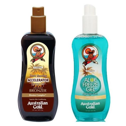 Australian Gold Accelerator Spray Gel and Aloe Freeze Spray | Zestaw do opalania: spray przyspieszający opalanie 237ml + chłodzący spray po opalaniu 237ml