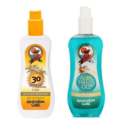 Australian gold spf 30 spray gel and aloe freeze spray | zestaw do opalania: spray do opalania 237ml + chłodzący spray po opalaniu 237ml (2019062534333)