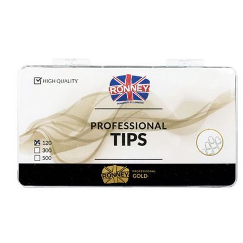 Ronney PROFESSIONAL TIPS FRENCH TRANSPARENT Tipsy french z małą kieszonką, bezbarwne (120 szt.)