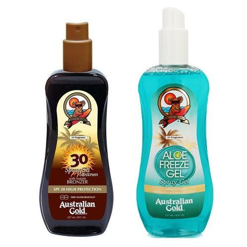 spray gel bronzer spf30 and aloe freeze spray | zestaw do opalania: spray do opalania z bronzerem 237ml + chłodzący spray po opalaniu 237ml marki Australian gold